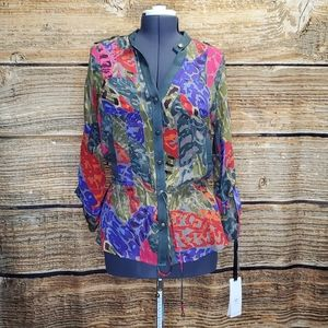 Hale Bob Long Sleeve Silk Shirt Large